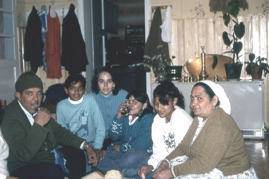 Carol Silverman with her host family in Šuto Orizari, Macedonia, 1990